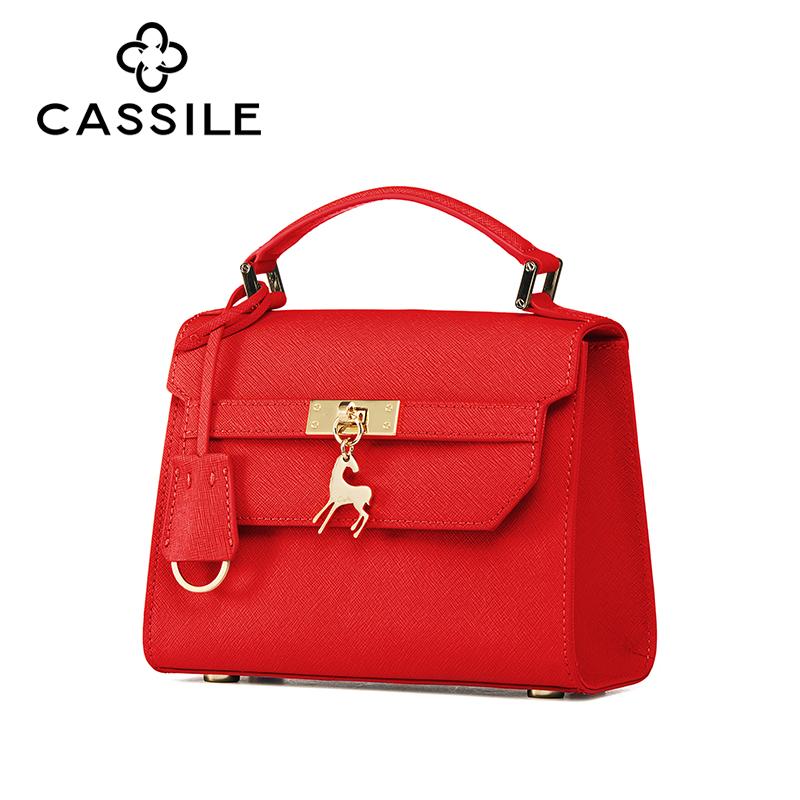 cassile-卡思乐2018春夏十字纹皮女包日韩单肩斜挎手提包凯莉小包