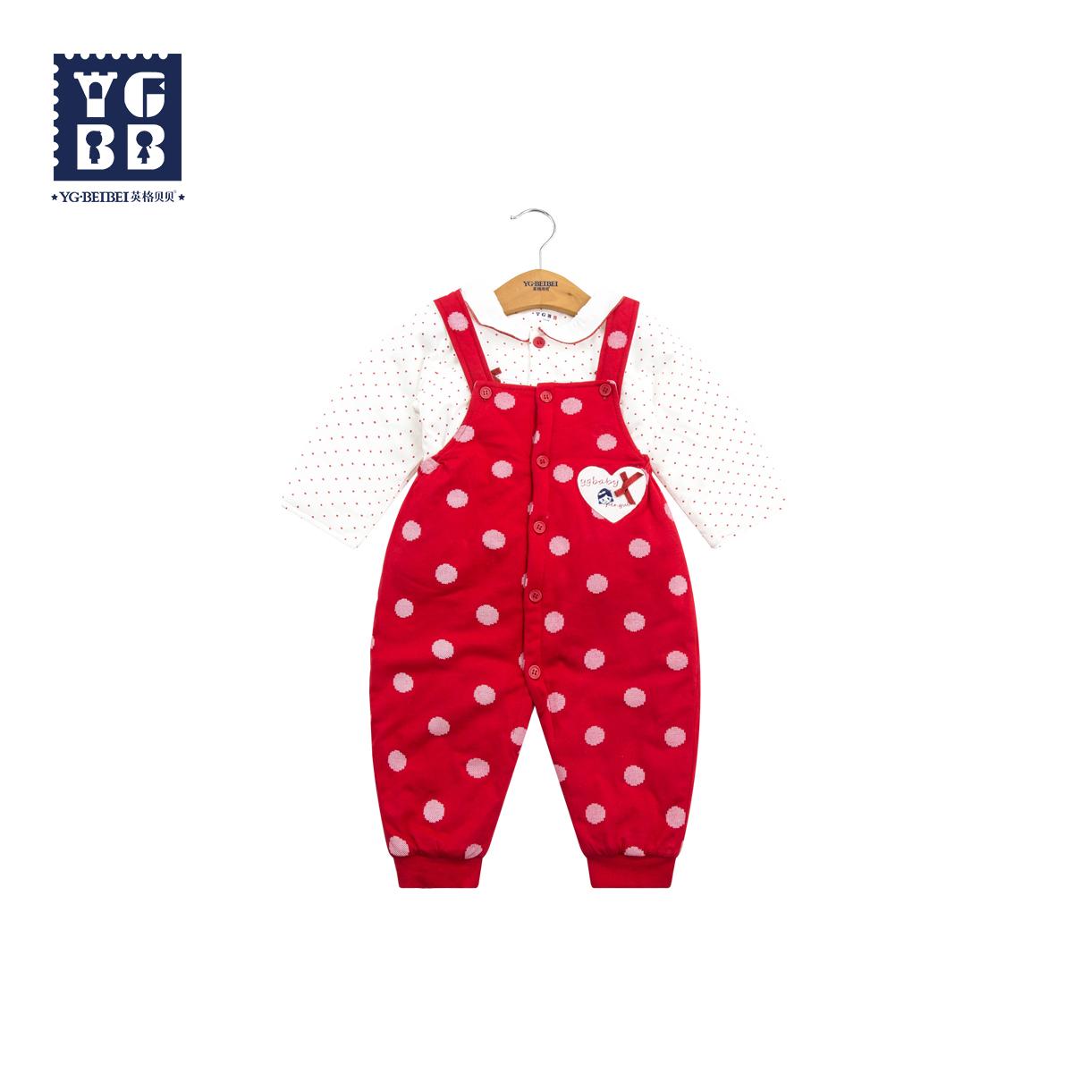 英格贝贝女童秋装套装2018新款宝宝洋气背带裤两件套婴儿周岁礼服