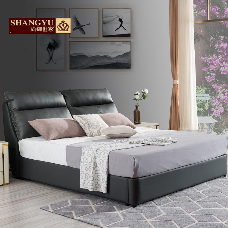尚御世家皮床真皮床简约现代婚床榻榻米床1.5米双人床1.8米皮艺床