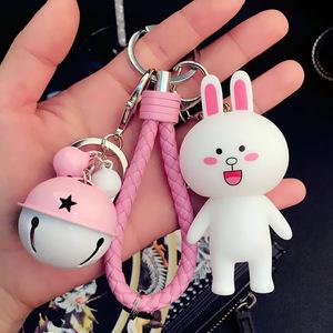 编织钥匙链男士创意女士款熊铃铛汽车钥匙扣包包挂件汽车用品