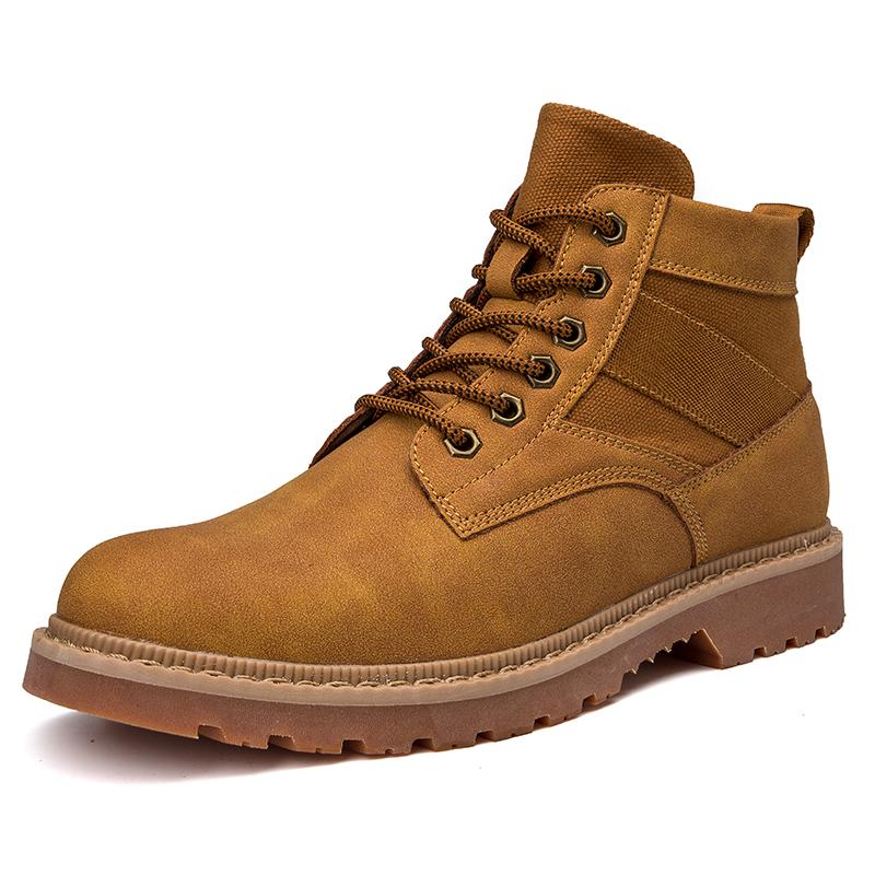 马丁靴男潮韩版百搭雪地靴男士高帮短靴男中帮大黄靴工装靴英伦风