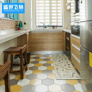北欧卫生间阳台六角砖厨房防滑黑白花砖六边形墙砖宜家瓷砖地砖
