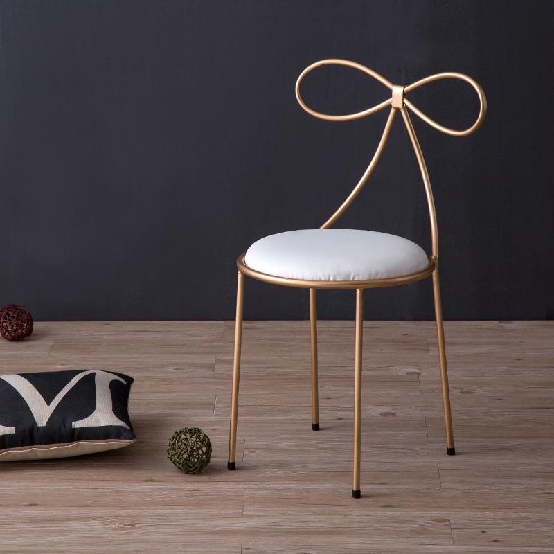 北欧餐椅简约现代休闲靠背椅餐厅椅子创意蝴蝶结化妆椅铁艺洽谈椅_4图片