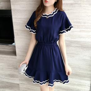 2017夏季新款荷叶袖连衣裙