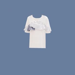 2020夏时尚简约花边T恤