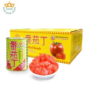 冠农股份新疆特产番茄丁罐头405g*12罐新鲜去皮西红柿块番茄酱