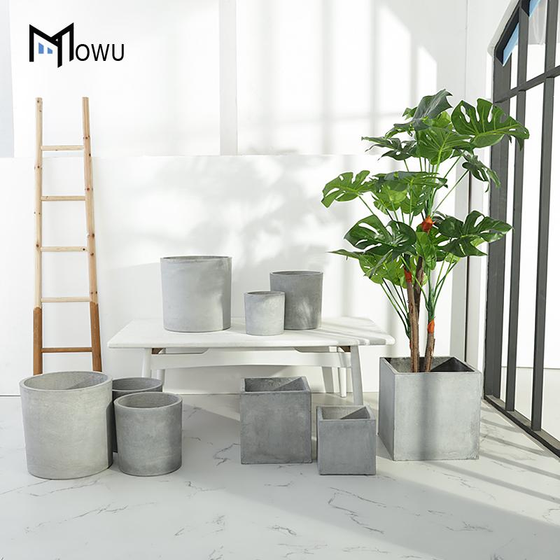 摩屋创意北欧水泥花盆方形大号北欧简约落地室内仿真植物绿植花盆