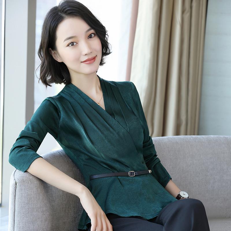 职业装绿色衬衫女长袖2018秋装新款显瘦韩范v领上衣收腰打底衬衣