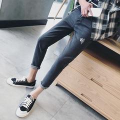 夏季亚博APP下载安装男士牛仔裤韩版修身小脚裤学生休闲弹力牛仔长裤潮
