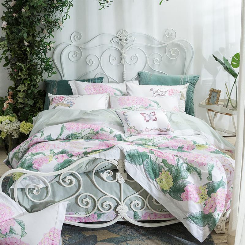 全棉四件套床上用品60支长绒棉纯棉印花被套1.8m高档床单四件套