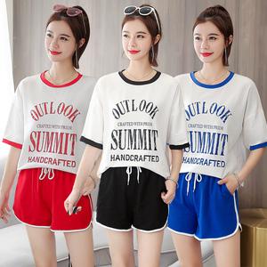 实拍现货休闲运动服套装女时尚印花韩版宽松短袖短裤跑步两件套