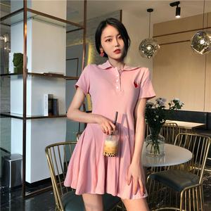 2018夏季新款pphome高腰POLOT恤裙显瘦小清新韩版时尚学生连衣裙