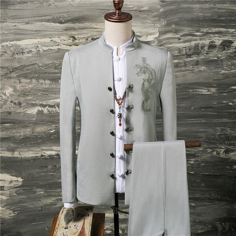 唐装男青年中国风汉服古风中山装男青年修身古装新郎西服套装礼服