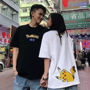 Prank Kiss李予诺潮牌夏季宽松纯棉皮卡丘半袖情侣装短袖t恤男