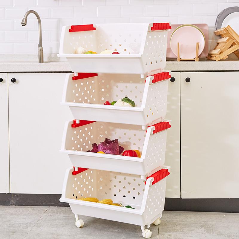 带轮果蔬篮果蔬置物架厨房浴室收纳架收纳整理杂物架4层3层收纳筐