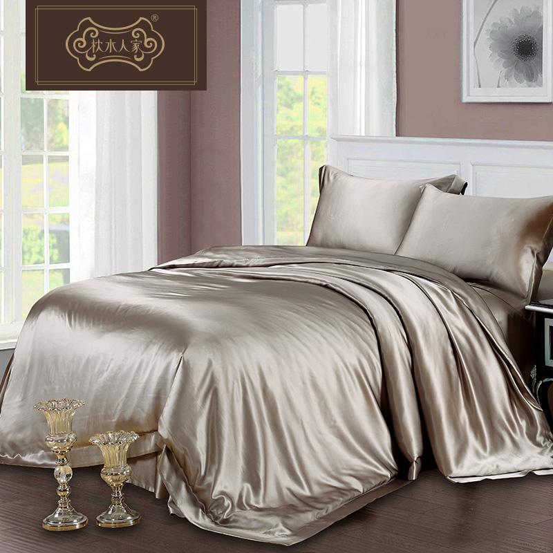 枕水人家新品重磅真丝四件套婚庆床品床单床上用品套件桑蚕丝