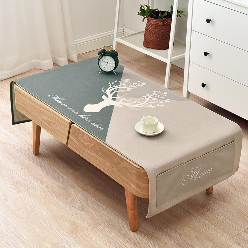 棉麻布艺北欧客厅台布长方形茶几桌布简约冰箱电视柜防尘盖布定制