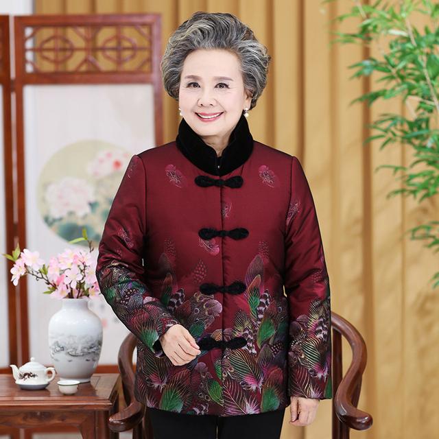 中老年秋冬奶奶装中国风唐装外套夹棉加绒棉袄上衣女装妈妈装棉衣