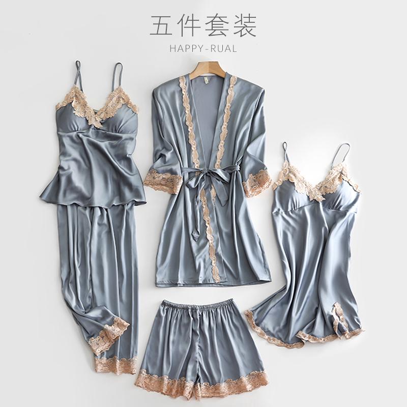 牛奶丝睡衣女春秋宫廷风大胸性感夏季冰丝火辣夏天睡裙睡袍五件套