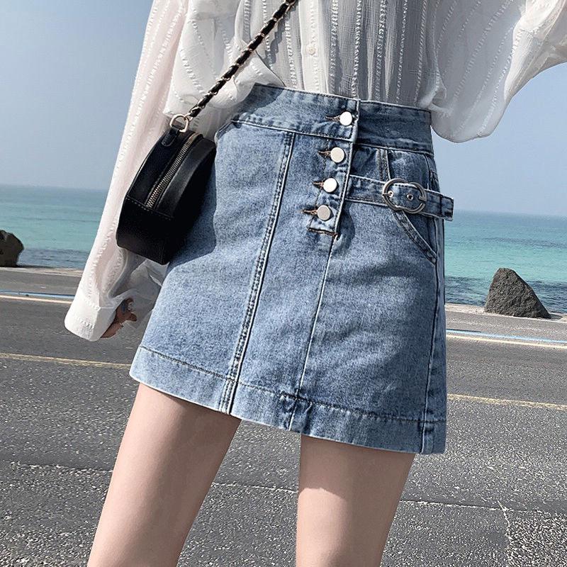 牛仔短裙女2020春夏季新款韩版高腰牛仔裙半身裙a字包臀显瘦港风