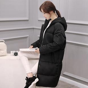 韩国过膝中长款棉衣外套