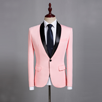 Pink green collar suit studio host stage dress I am a singer