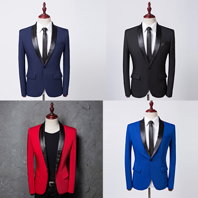 Qingguo collar suit studio color suit Korean version of self-cultivation suit