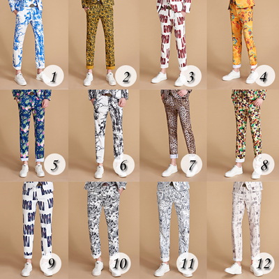 Artistic Trend of Boutique Men's Printed Trousers Straight Trousers