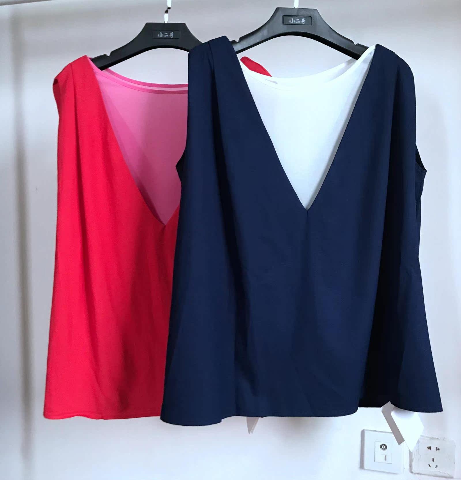 钱夫人CHINSTUDIO 夏季新款韩版显瘦无袖拼接雪纺中长款上衣女