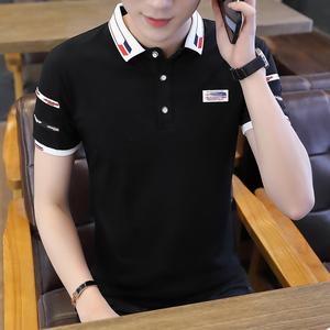 夏季潮流韩版衬衫领短袖POLO衫2019新款有带领短袖T恤男...