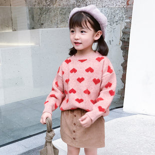 Children's clothing girls sweaters 2019 new autumn sweater pullover bottoming shirt big children's Western female baby sweater