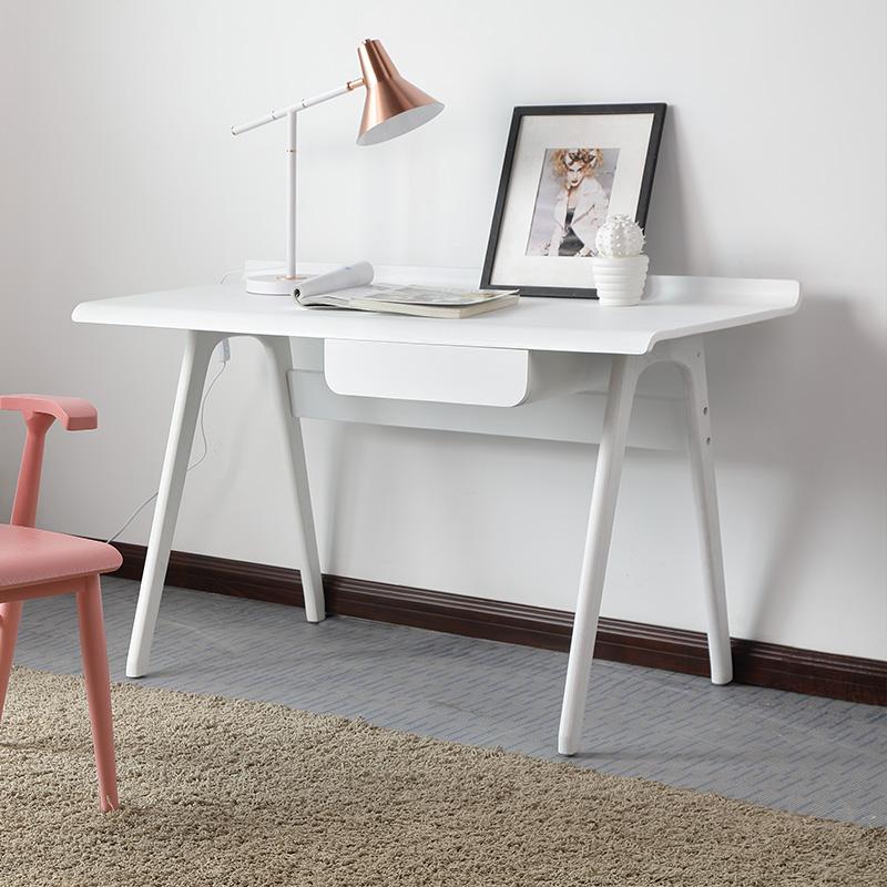 北欧实木书桌学生写字台日式电脑桌现代创意办公桌家用简约原木