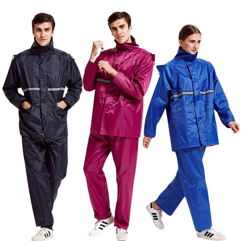 正雨套装雨衣雨裤男女单人双帽檐电动摩托车外卖反光分体加厚雨衣