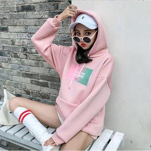 2018新款秋冬季加绒加厚卫衣女长袖韩版宽松学生连帽上衣粉色外套