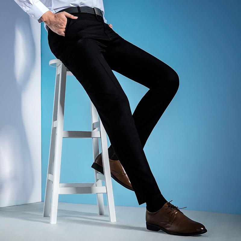 CreamSoda 夏季男士西裤商务休闲正装裤西装西服裤青年修身型黑色长裤子薄款
