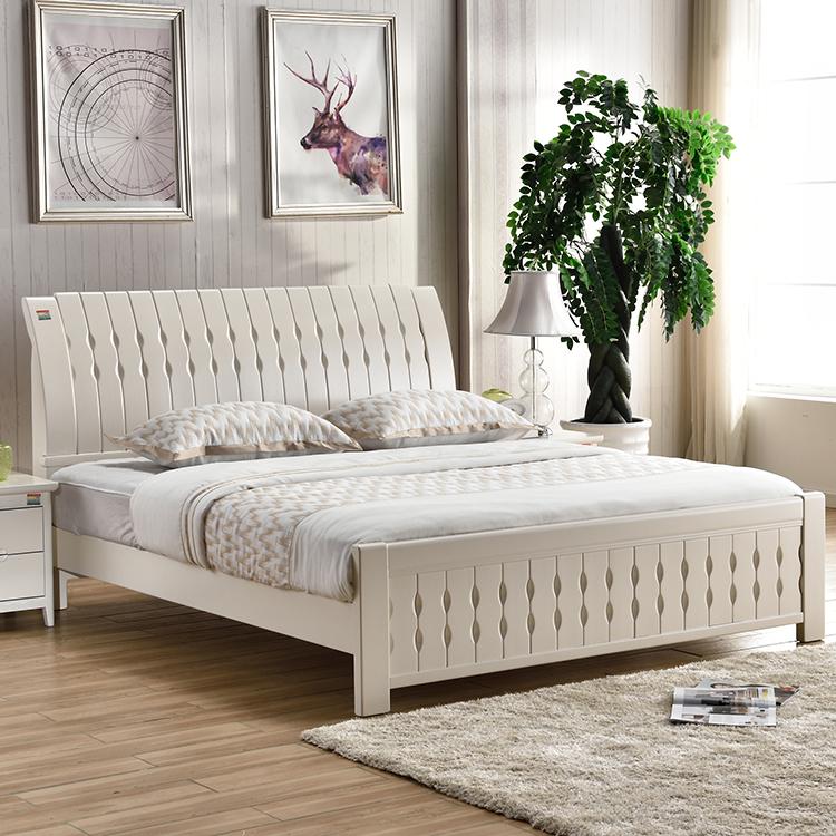 意特尔全实木床白色橡木床现代中式双人床1.8米1.5米1.图片