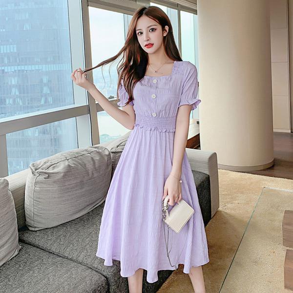 实拍2020新款小个子桔梗初恋裙子森系法式长裙收腰显瘦紫色连衣裙高档裙子