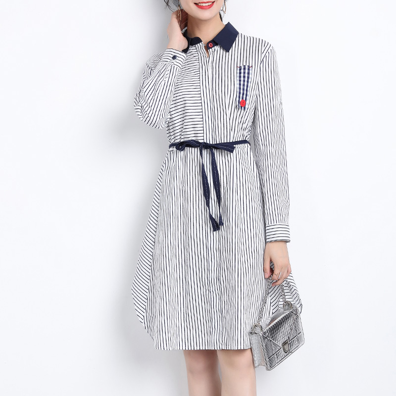 Large size women's 2018 New fat sister Autumn waist thick cover belly dress striped foreign style 200 pounds skirt