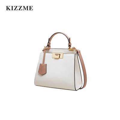 KIZZME2018秋季新品 牛皮锁扣包简约手提包撞色单肩斜挎女包