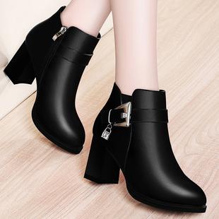 2019新款短靴女粗跟靴子女士中跟皮鞋秋冬季单靴女鞋英伦马丁靴子