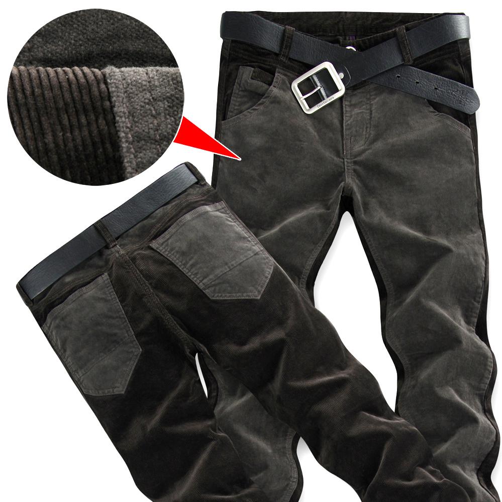 ~品质男裤 秋季新款条绒灯芯绒男士休闲裤弹力 修身直筒潮长裤子