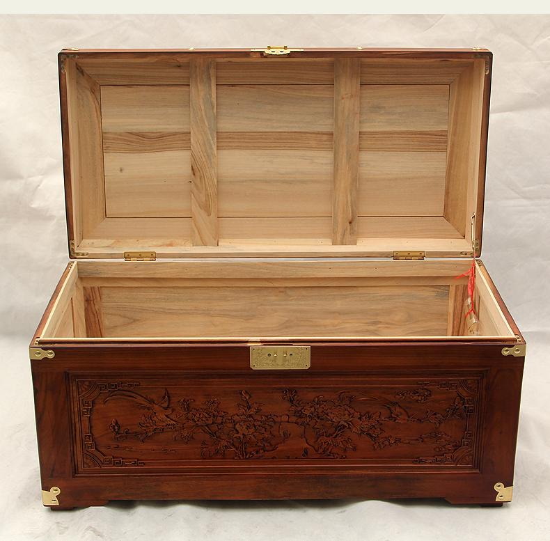 香樟木箱子 婚嫁木箱雕花收纳字画中式复古嫁女结婚礼品实木家具