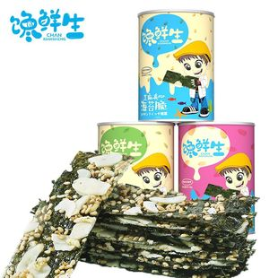 馋鲜生夹心海苔脆芝麻大片紫菜即食儿童宝宝孕妇韩国休闲零食罐装