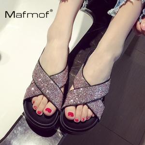 Mafmof春夏新款女鞋舒适亮片真皮鱼嘴凉拖鞋女坡跟厚底罗马鞋凉鞋