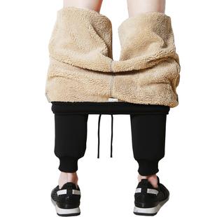 裤子男秋冬季加绒休闲长裤韩版修身束脚针织弹力卫裤潮牌运动裤男