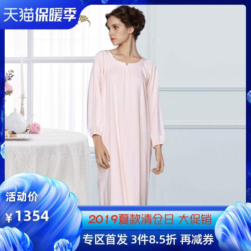 CA BRIDA睡裙女针织棉简约纯色长袖过膝裙居家空调裙CHW4A834C1