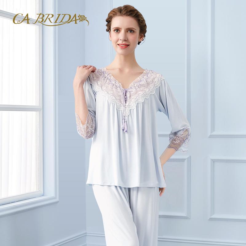 CA BRIDA-嘉德丽亚18新品甜美优雅蕾丝拼接莫代尔睡衣CIS4C304AB1