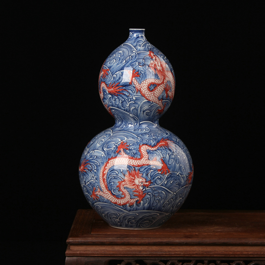 High - grade hand - made porcelain of jingdezhen ceramics youligong red hoses gourd vases classical household decoration