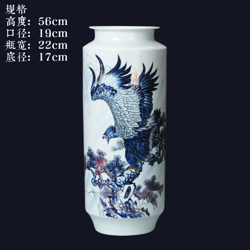 Blue and white see colour porcelain jingdezhen ceramics by hand unfolds the vase modern home furnishing articles