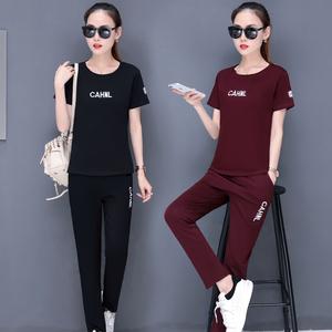 夏季2018新款韩版时尚短袖休闲运动套装两件套女装夏天大码套装潮